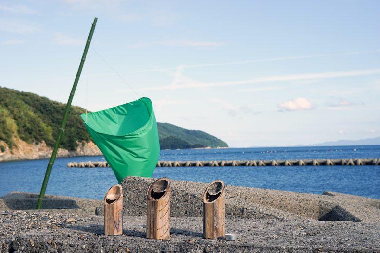 「竹キャンドル」と「のぼり」
